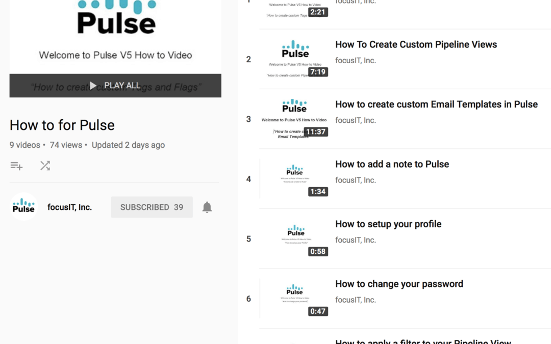 New Trainings Available for Pulse Users